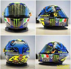 Vr 46 new helmet Shark Helmets, Agv Helmets, Racing Helmets, Bike Helmets, Valentino Rossi Helmet, Valentino Rossi 46, Motorcycle Helmet Design, Cafe Racer Helmet, Velentino Rossi