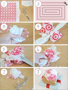 DIY Grocery Bag Pom Pom Gift Topper - cuter