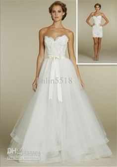 Wholesale NEW Sexy Ball Gown lace mini dress, tulle overskirt with chapel train Wedding Dresses Dress, Free shipping, $134.4-145.6/Piece | DHgate
