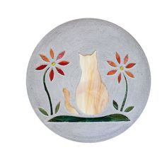 """Orange Tabby Kitty Cat Stepping Stone BIG 18"""" Concrete Stained Glass Mosaic Yard…"""