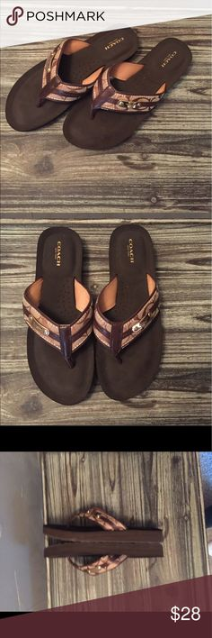Cute Coach Flip Flops! Authentic Coach Flip Flops. Only worn once! Cute and very comfortable! Fits true to size. No longer have the box Coach Shoes Sandals