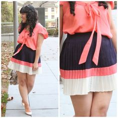 Forever 21 Pleated Navy & Coral Color Block Skirt As seen on Will Bake for Shoes, pleated navy skirt with coral and beige color block stripes. In excellent condition, only worn once. Perfect for Fall! NO PAYPAL OR TRADES.                                                                              Blog: willbakeforshoes.com Twitter: @willbakeforshoe Instagram: @willbakeforshoes Forever 21 Skirts
