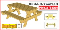 Traditional Picnic Table Plans - Construct101
