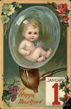 nevermind the new year greeting i just liked the baby in the bubble pipe