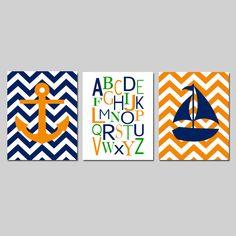 Nautical Nursery Art Trio  Set of Three 8x10 Prints  by Tessyla, $55.00
