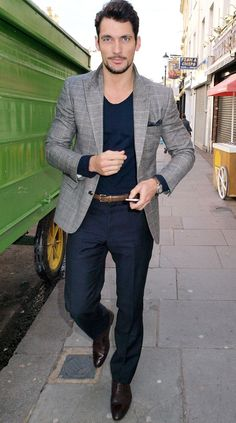 Navy / patterned blazer / brown leather