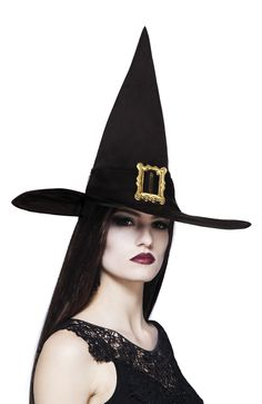 Noidan hattu isolla soljella. Wicked Witch, Costume Accessories, Fancy Dress, Charleston, Captain Hat, Costumes, Halloween, Shopping, Clothes