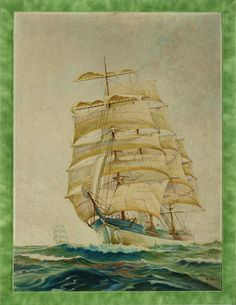 """Classic maritime watercolour on linen canvas by R. Ward signed (LR) depicting a clipper ship! Image Sz: 17 1/2""""H x 23 1/2""""W"""