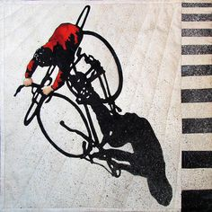 Movin' On   Mini art quilt by Nancy Messier The cyclist image was inspired by a painting by Jim Zwadlo.   2015