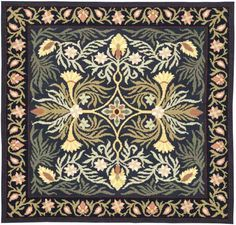 Beth Russell charted rug Panel Art, Needlepoint Canvases, Barn Quilts, William Morris, Cross Stitch, Embroidery, Pillows, Rugs, Sewing