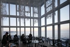 The interior design of the Fogo Island Inn in Canada is made for the perfect view of the water.