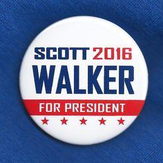 Scott Walker for President 2016 Button Pin GOP Republican Wisconsin