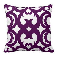This heart fretwork scroll pattern plum throw pillow is elegant and sophisticated. If you are looking for a purple and white throw pillow with a scroll or damask print, this one is perfect. Purple Throw Pillows, Diy Pillows, Custom Pillows, Cushions, Purple Love, All Things Purple, Shades Of Purple, Plum Living Rooms, Living Room Decor
