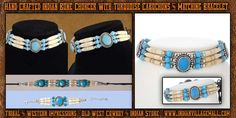 Turquoise Cabochon Choker And Matching Bracelet From Tribal And Western Impressions- Old West Cowboy And Indian Store - www.indianvillagemall.com