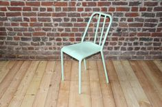 Retro metal chair  model VIEUX LILLE  Color green by MyBistroTable