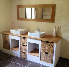 a look at some of the most popular bathroom decor from small bathroom decor modern bathroom to bathroom remodel designs Modern Bathroom Decor, Bathroom Furniture, Bathroom Interior, Small Bathroom, Modern Decor, Kallax Regal, Home Deco, Double Vanity, Teak