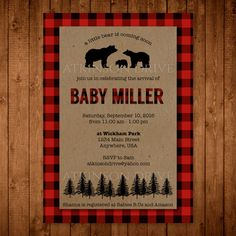 Baby Bear Rustic Plaid Shower Invitation. Camping Themed Baby Shower. Lumberjack Baby Shower. Printable Invite. by AtkinsonDrive on Etsy https://www.etsy.com/listing/461792814/baby-bear-rustic-plaid-shower-invitation