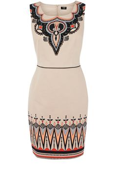 This fitted shift dress has a pencil style skirt and tribal beaded detailing to the neckline and hemline. Sleeveless in style, this piece has a defined waist and simply zips up the back.