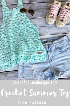 Diy Crochet Top, Crochet Tank Tops, Crochet Summer Tops, Crochet Shirt, Cute Crochet, Knit Crochet, Crochet World, Crochet Patterns For Beginners, Free Crochet Top Patterns