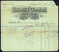 Whitehill & Cleveland, Billhead, 1892