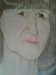 Portrait of my mother in colour pencil