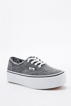 Vans Authentic Platform Trainers in Grey - Urban Outfitters