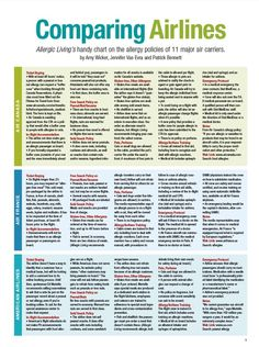 Comparing Airlines - @Alex Jones Felsinger Living's handy chart on the allergy policies of 11 major air carriers