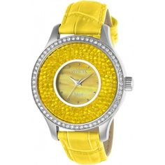 Invicta Angel Yellow Dial Ladies Watch (£73) ❤ liked on Polyvore featuring jewelry, watches, dial watches, quartz movement watches, invicta jewelry, analog watches and silver tone watches