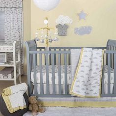 """The bedding we are thinking of getting. The Peanut Shell Dot A Lot Cloud Yellow and Grey 5 Piece Crib Bedding Set - The Peanut Shell - Babies """"R"""" Us"""