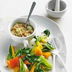 Kokos-Pak-Choi mit Cashew-Reis