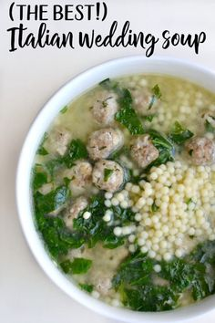 Italian Wedding Soup Italian Wedding Soup This delicious Italian wedding soup is easy to make and super delicious.<br> A delicious Italian Wedding soup recipe containing pasta, meatballs, spinach, and a flavorful broth. Seafood Recipes, Cooking Recipes, Healthy Recipes, Easy Recipes, Cooking Okra, Hearty Soup Recipes, Dinner Recipes, Budget Cooking, Oven Recipes