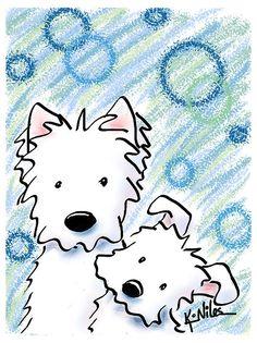 Splish Splash by Kim Niles West Highland Terrier, Splish Splash, Illustrations, Chalk Art, Westies, Animal Drawings, Dog Drawings, Pebble Art, Dog Art