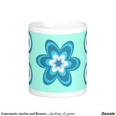 Concentric circles and flowers in blue classic white coffee mug  #coffee #mug #zazzle http://www.zazzle.com/concentric_circles_and_flowers_in_blue_classic_white_coffee_mug-168295144419039805