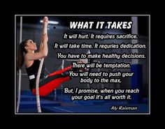 "Gymnastics Wall Art Motivation Poster Daughter Wall Decor Aly Raisman Gymnast Decor Gift Gym Art Print Gymnast 5x7""- 11x14"" WHAT IT TAKES by ArleyArt on Etsy"