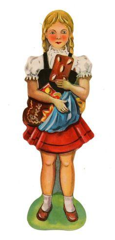 Alte Oblate Glanzbilder Scraps Lebkuchenkind Gretel ...20,5cm Rar!!