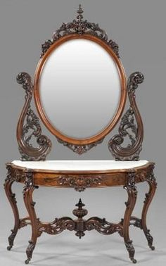 "Victorian Rococo Revival Rosewood And Marble Top Duchesse, Oval Mirror With Pierced And Floral-Carved Harp, The Base Retaining Its Original ""Dished"" White Marble Top, Raised On Cabriole Legs With Floral-Carve Knees, Attributed To Alexander Roux - New York"