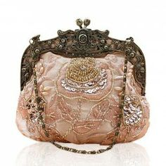 $20.42 Party Women's Evening Bag With Vintage Peony Beaded and Sequins Design