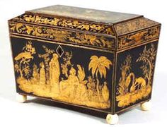 Regency Two compartment Penwork Tea caddy decorated all over with exotic penwork scenes on a sycamore ground . Circa 1815 www.hygra.com