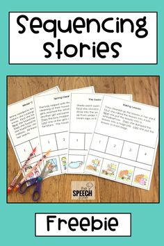 Free four-step sequencing stories sample! Use these worksheets to practice sequencing events, story retell, answering comprehension questions and articulation in reading. Each worksheet comes with Story Sequencing Worksheets, Sequencing Cards, Sequencing Activities, Speech Therapy Activities, Speech Language Pathology, Language Activities, Sequencing Events, Speech And Language, Story Sequencing Pictures
