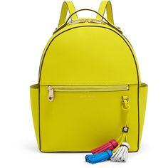 Henri Bendel West 57th Tassel Backpack (715 RON) ❤ liked on Polyvore featuring bags, backpacks, warm olive, olive backpack, backpack bags, zip bag, handle bag and henri bendel