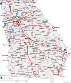 County Map Of Georgia With Roads.7 Best Road Maps Images In 2017 Road Maps Roads Road Trip