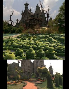 the Edward Scissorhands castle and gardens shima or punchcard of shape/textue of grass verges Tim Burton, Spooky House, Edward Scissorhands, Patio Roof, Garden Landscaping, Sleeve Tattoos, Creepy, Sky, Movies