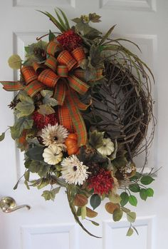 Country Fall Wreath Thanksgiving Wreath Deluxe Front Door