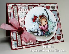 Tilda with heart arrows, card front, Magnolia stamps