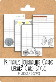 Free printable library cards/journal cards  from sweetlyscrappedart.blogspot.com