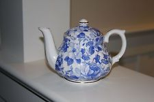 Blue and White Floral Gold Trim Teapot Tea Pot DAVID MICHAEL China Staffordshire