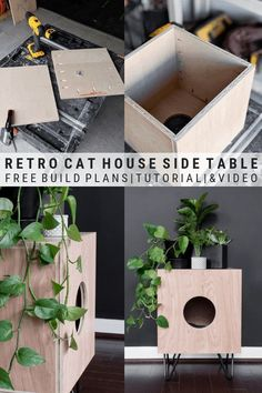 Indoor Cat House Build: How to Build a Stylish Cat House! Indoor Cat House Build: How to Build a Stylish Cat House!,For Noir DIY retro cat house side table build plans