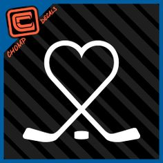 Hockey Sticks Heart puck love play ice sports car decals stickers