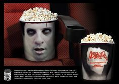 Anyone else notice how much a bucket of popcorn looks like brains? Well the guys over at Y New York definitely saw the resemblance. In order to promote the Motor City Nightmares 2012 Horror Festivals, they created a popcorn bucket that looked like a mans head.