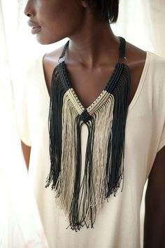 "Black and Cream Fringe macrame necklace. ""Black and Cream Fringe"" by JeanGardyDesigns"